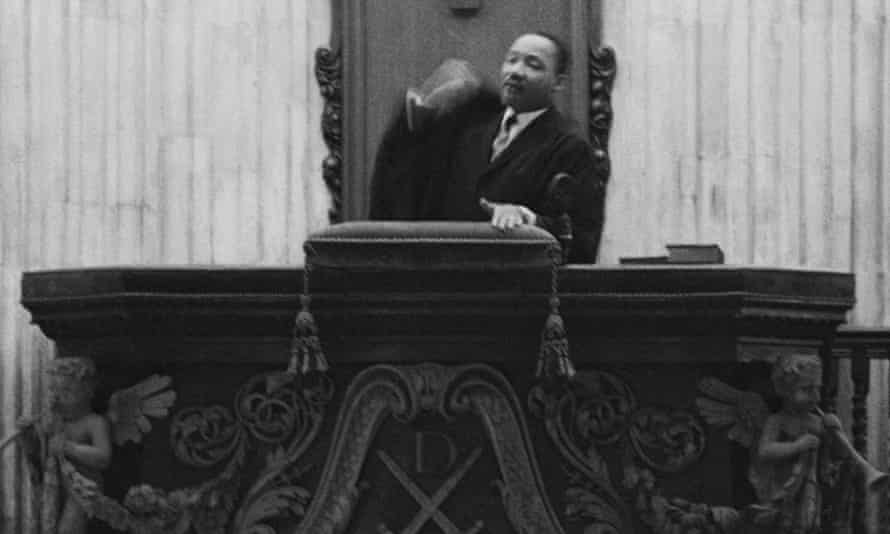 Dr King preaching from the pulpit of St. Paul's Cathedral, London, 6 December 1964.