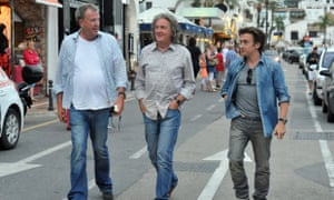 Jeremy Clarkson, James May and Richard Hammond filming Top Gear in a foreign country.