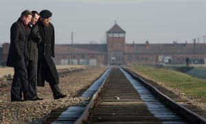 David Cameron is shown the Birkenau extermination camp in Poland, during a personal visit that he made to the former concentration camps of Auschwitz and Birkenau