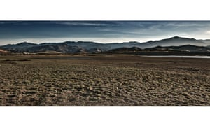 Rock bottom: one of California's dried-out reservoirs.