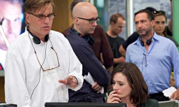 Aaron Sorkin on the set of The Newsroom