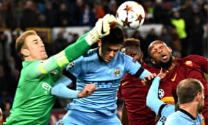 Joe Hart punches clear for Manchester City