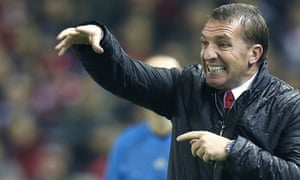 Liverpool manager Brendan Rodgers looks exasperated in the 1-1 draw with Basel at Anfield.
