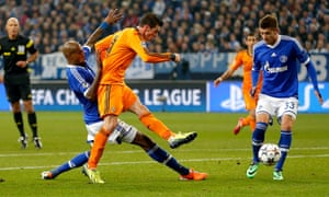 Gareth Bale scores one of Real Madrid's six goals against Schalke during the first-leg rout in last season's competition.