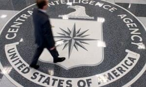 A man crosses the CIA lobby in Virginia.