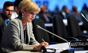 Australian Minister for Foreign Affairs Julie Bishop prepares for her speech to the United nations climate talks in Lima, Peru.