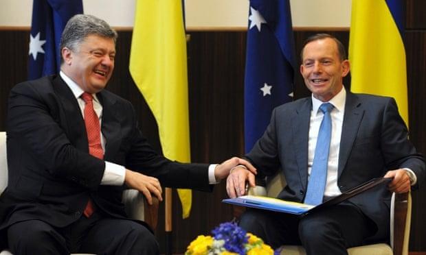 Petro Poroshenko and Tony Abbott,