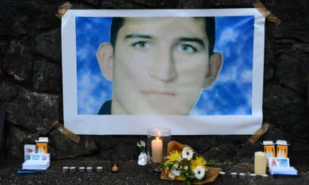 A shrine for Reza Barati at during a candlelight vigil in support of asylum seekers
