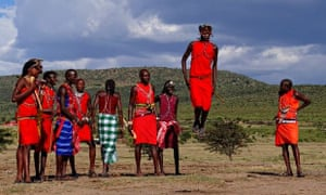 A group of Maasai men showing their traditional jumping dance