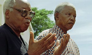Former Tanzanian president Julius Nyerere with Nelson Mandela in 1996