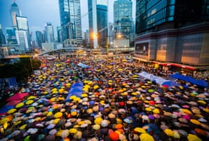 28 October Pro-democracy protesters open their umbrellas for 87 seconds, marking the 87 rounds of tear gas fired by Hong Kong police at unarmed student demonstrators at the Admiralty protest zone – since dubbed Umbrella Square