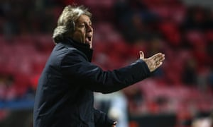 Benfica's Jorge Jesus watches on as his side crash out of the Champions League.