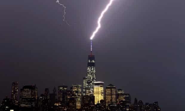Lightning storm moving over New York