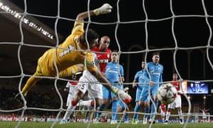 Aymen Abdennour scores Monaco's first goal in their win over Zenit.