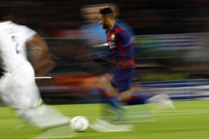 Barcelona's Neymar puts on the burners during their 3-1 win over PSG.