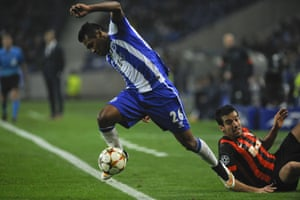 Fancy footwork part II - Porto's Alex Sandro leaves Shakhtar Donetsk's Ilsinho on his backside during their 1-1 draw.