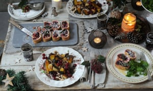 A festive table full of meat-free delights.