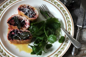 Fig, chestnut, ricotta and beetroot-top rotolo