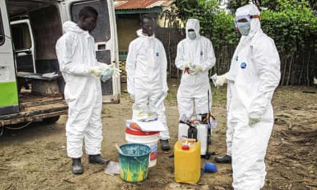 Health workers in Freetown, Sierra Leone