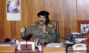 Saddam Hussein, at his writing desk?