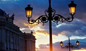 Sunset at the Royal Palace. Madrid. Spain
