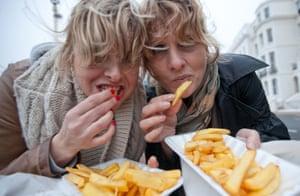 Women eating chips