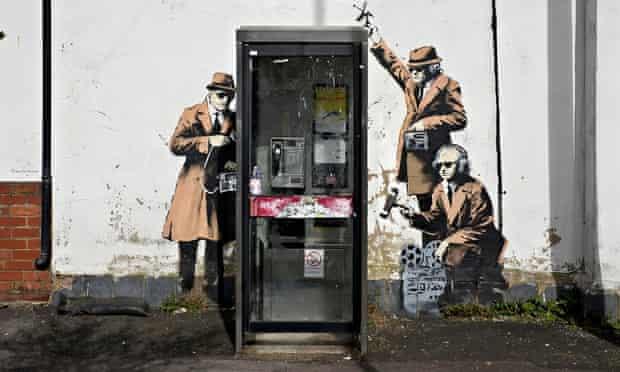 Banksy spy booth mural