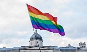 A rainbow flag in Trafalgar Square.