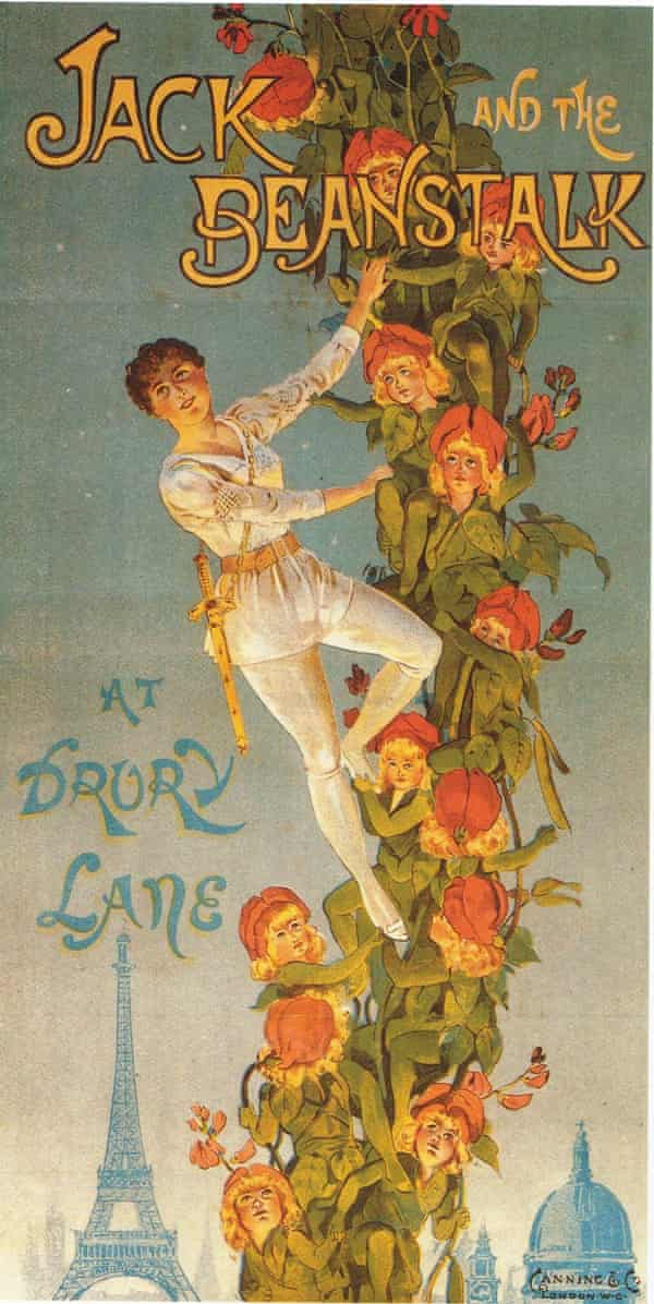 A poster elegantly promotes Jack and the Beanstalk at Drury Lane in 1889
