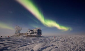 Auroras over the 10-meter telescope and BICEP (Background Imaging of Cosmic Extragalactic Polarisation) at Amundsen-Scott South Pole Station. The 10-meter South Pole Telescope and BICEP both collect data on cosmic microwave background radiation and black matter.