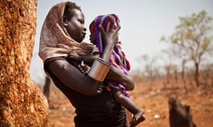 A woman and her child from the Nuba Mountains in Sudan outside of the Yida refugee camp.