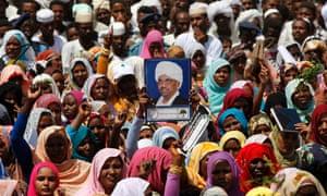 Supporters of Sudan's president Omar Hassan al-Bashir.