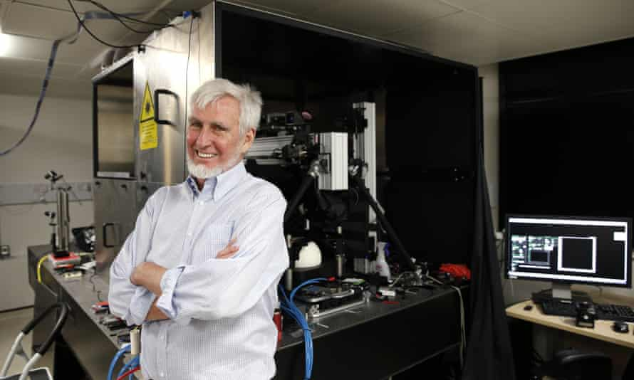 """John O'Keefe at his office in London on 6 October, 2014, after jointly winning the Nobel medicine prize with Norwegian couple for discovering an """"inner GPS"""" that helps the brain navigate."""