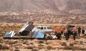 Wreckage of Virgin Galactic's SpaceShipTwo on 31 October 31, 2014 in the Mojave Desert, California.