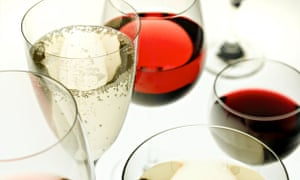 Red and white wines in glasses