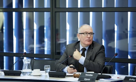 Dutch foreign minister Frans Timmermans is pictured during a debate with members of the Parliaments second chamber about the situation in and possible support for the Syrian Kurdish town of Aln al-Arab, kobane, currently besieged by the Islamic State, in The Hague on October 9, 2014.