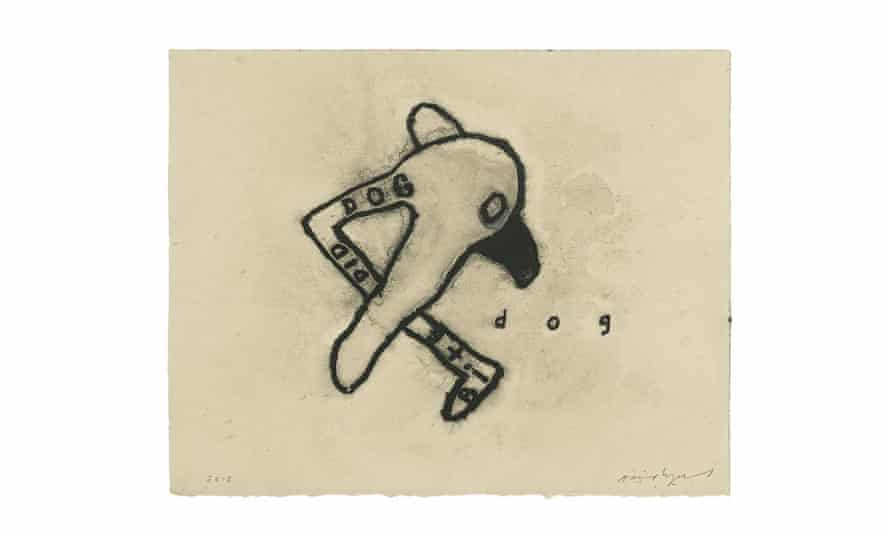 Dog, 2012. Mixed media on paper. Courtesy of the artist and Kayne Griffin Corcoran, Los Angeles.