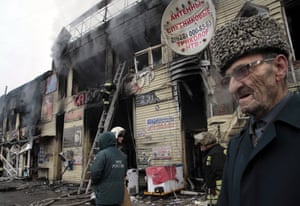 The aftermath of a gun battle in Grozny on 4 December 2014 – hours before  Vladimir Putin began his annual state of the nation address in Moscow.