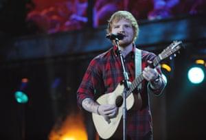 Ed Sheeran performs at the BBC Music awards at Earl's Court, London.