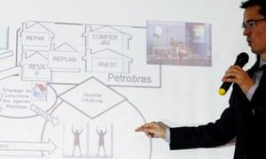 Brazilian prosecutor Deltan Martinazzo Dallagnol shows a diagram of one of the alleged bribery schemes involving Petrobras.