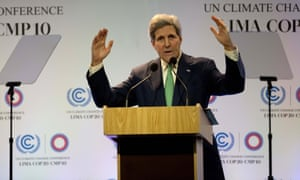 US Secretary of State John Kerry addresses the UN climate conference in Lima.