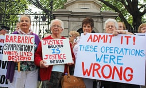A protest in Dublin last year demanding justice for survivors of symphysiotomy.