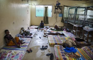 """Inside the critical ward of the Redemption  Hospital which has become a transfer and holding center  to an intake suspected Ebola patients located in the poor neighborhood of Monrovia that locals call """"New Kru Town 20 September 2014 in Monrovia, Liberia"""