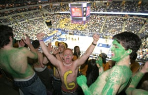 Students scream while George Mason University played Wichita State in the NCAA Div. 1 Regional Semifinals, March 2006