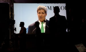 John Kerry giving his speech at the Lima conference.
