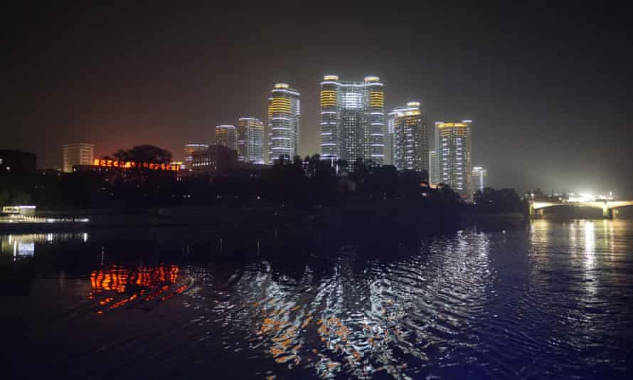 New buildings light up the skyline of Pyongyang. North Korea