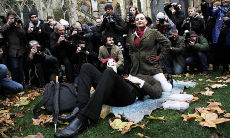 A simulated sex protest against the UK's new restrictive porn laws staged outside parliament