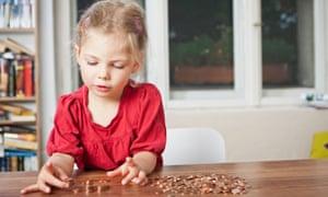 US Money girl pennies