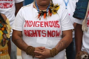An Indian woman from the Brazilian Amazon region participate in a protest for Indigenous rights during the Climate Change Conference in Lima, Peru, Monday, Dec. 8, 2014. A recent study by a top Brazilian climate scientist, Antonio Nobre, draws together data from multiple researchers to show that the Amazon, due to decades of deforestation, may be closer to a tipping point than the government has acknowledged and that the changes could be a threat to climates around the globe.