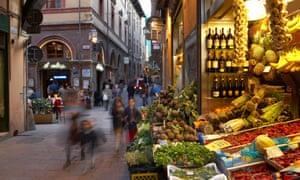 Old market area in Bologna, Emilia-Romagna.